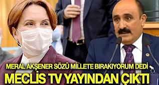 Meral Akşener kürsüyü esnafa bıraktı, Meclis TV yayını kesti!